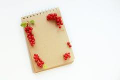 Anteckningsbok med den röda ramen royaltyfria bilder