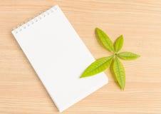 Anteckningsbok och gräsplanblad fotografering för bildbyråer