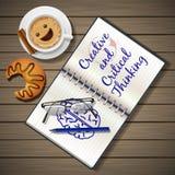 Anteckningsbok- och kaffekopp med gifflet Royaltyfria Foton