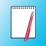 Anteckningsbok och röd pennvektorillustration Arkivfoto