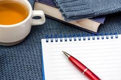 Anteckningsbok, penna, böcker och kopp te på en varm blå tröja royaltyfri fotografi