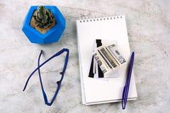 anteckningsbok, penna, pengar, kreditkortar, exponeringsglas och suckulent arkivfoton