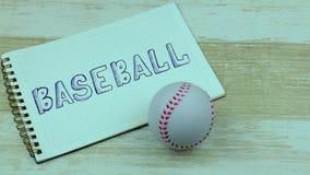 Anteckningsbokbaseball och en boll stock video