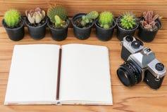 Anteckningsbokblyertspenna och kamera på wood bakgrund med kaktuns Royaltyfri Bild