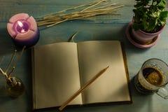 Anteckningsboken blyertspenna, vädrade stearinljus, nödvändiga oljor, trädfilialer, små träd i krukor, kaffekoppar På en trätabel Royaltyfri Fotografi