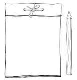 Anteckningsboken och guling ritar den gulliga lineartillustrationen Arkivbild