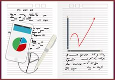 Anteckningsbokpapper, med idé för begrepp för plan för teckningsaffärsstrategi, mobiltelefonnyheternamall på skärmen, vektorillus Arkivfoton