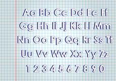 Anteckningsbokstilsort abc-alfabetet letters det mekaniska setschemat Royaltyfri Fotografi