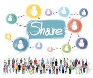 Anteil, der Verbindungs-Vernetzungs-Konzept teilt lizenzfreie stockfotos