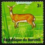 Antelope bohor reedbuck (Redunca redunca), series Animals Burund. MOSCOW, RUSSIA - FEBRUARY 19, 2017: A stamp printed by Burundi shows antelope bohor reedbuck ( Royalty Free Stock Photography