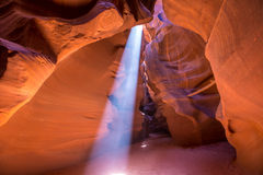 Antelope Canyon Arizona on Navajo land near Page. Antelope Canyon Arizona light beams on Navajo land near Page Stock Image