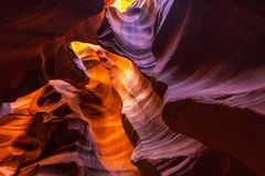 Antelope Canyon, Arizona, perspective scenery in autumn stock images