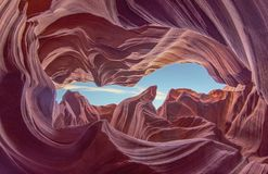 Antelope Canyon with Blue Sky and Sandstones in Arizona, USA royalty free stock photo