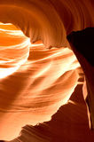 Antelope Canyon Rock Formations. Sunlight reflected off of the red rock curves of the Antelope Canyon Slot Canyons in Page, Arizona. This shot was taken in Lower Royalty Free Stock Photo