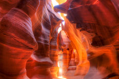 Antelope Canyon. Sun rays making Antelope Canyon glow at high noon Royalty Free Stock Photos