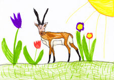 Antelope on flower meadow. child drawing Stock Images