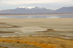 Antelope Island, Great Salt Lake, and Wasatch Mountains Stock Photo