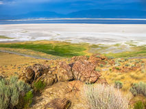 Antelope Island Utah. Aerial view of the dramatic landscape of the Great Salt Lake on Antelope Island State Park, also called land of Buffalo, Salt Lake, Utah Royalty Free Stock Photo