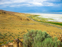 Antelope Island Utah. Aerial view of the dramatic landscape of the Great Salt Lake on Antelope Island State Park, also called land of Buffalo, Salt Lake, Utah Royalty Free Stock Photos