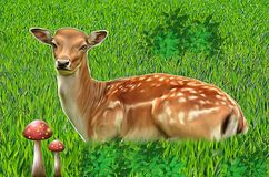An antelope lying on the lawn royalty free illustration