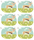 Antelope Visual Game. For children. Illustration is in eps8  mode! Task: Find two identical images (match the pair)! Answer: No. 3 and 4 Royalty Free Stock Photo