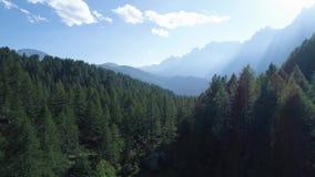 Antena adelante sobre el valle del bosque de la montaña del lago que revela alpino azul en verano soleado con las nubes Montañas  almacen de video