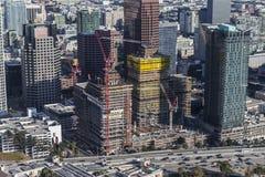 Antena céntrica de la construcción de Los Ángeles South Park Imagen de archivo