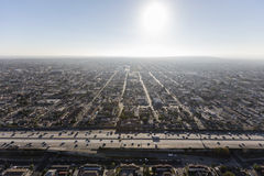 Antena central del sur de la autopista sin peaje del puerto 110 de Los Ángeles Fotos de archivo libres de regalías