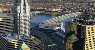Antena Cincinnati centrum miasta scena fotografia royalty free