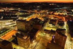 Antena Cincinnati przy nocą obraz royalty free