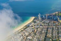 Antena da cidade e praia de Miami Fotografia de Stock Royalty Free