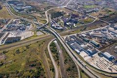 Antena da interseção da autoestrada em África do Sul fotografia de stock royalty free