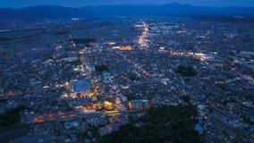 Antena da noite da cidade de Yokaichi, Shiga, Japão Foto de Stock Royalty Free