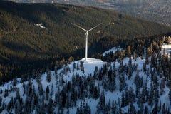 Antena da turbina eólica da montanha do galo silvestre fotos de stock