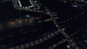 Antena das luzes e do tráfego em Oakland na noite filme