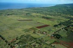 Antena de campos de exploração agrícola das fases diferentes da idade que correm ao Fotos de Stock Royalty Free