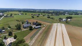 Antena de explorações agrícolas Amish imagens de stock royalty free