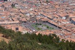 Antena de la ciudad de Cusco Imagen de archivo libre de regalías