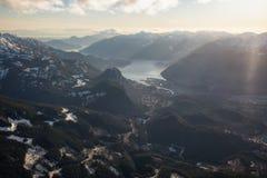 Antena de la ciudad de Squamish Imagen de archivo libre de regalías
