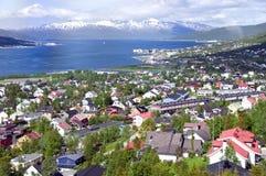 Antena de la ciudad de Tromso Fotos de archivo libres de regalías
