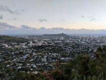 Antena de la ciudad de Honolulu de Diamond Head a Manoa Imágenes de archivo libres de regalías