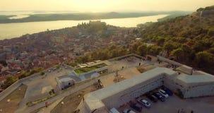 Antena de la fortaleza de Sibenik Barone almacen de metraje de vídeo