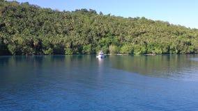 Antena de la isla tropical y de la laguna tranquila en Papúa Nueva Guinea almacen de video