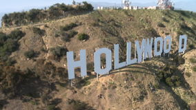 Antena de la muestra de hollywood de la ladera almacen de metraje de vídeo