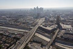 Antena de la niebla con humo del verano de Los Ángeles Imagen de archivo libre de regalías