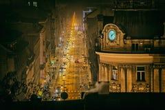 Antena de la noche de Zagreb diciembre Fotos de archivo libres de regalías