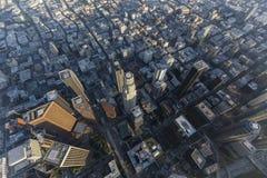 Antena de la tarde de las torres del Bunker Hill de Los Ángeles Imagen de archivo