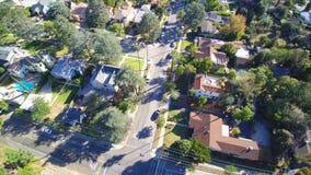 Antena de la vecindad en California almacen de metraje de vídeo