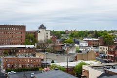 Antena de Lancaster do centro histórico, Pensilvânia com bloomin fotografia de stock