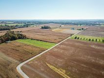 Antena de las tierras de labrantío en Dover, Pennsylvania apenas al sur de Harrisbu imagen de archivo
